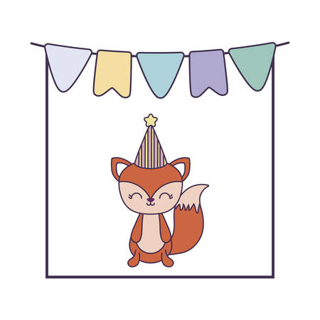 cute fox animal with garlands and hat party vector illustration design
