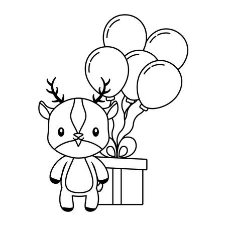 cute reindeer with gift box and balloons helium vector illustration design  イラスト・ベクター素材