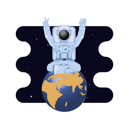earth planet with astronaut scene space vector illustration design  イラスト・ベクター素材
