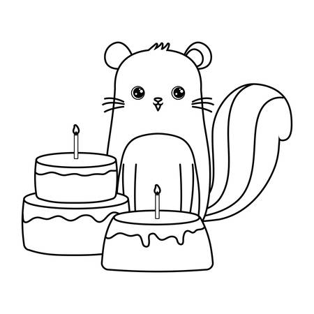 cute chipmunk with cakes of birthday vector illustration design  イラスト・ベクター素材