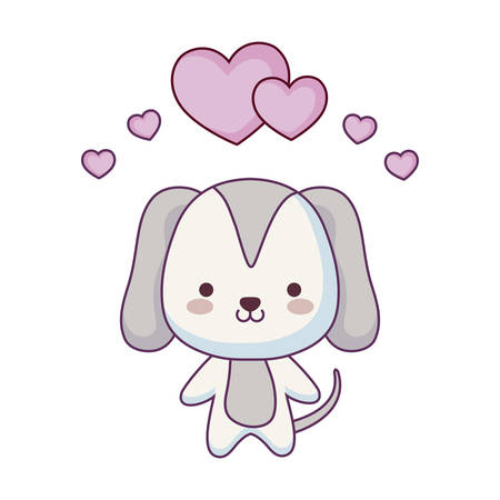 cute dog animal with hearts love vector illustration design  イラスト・ベクター素材