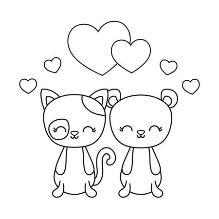cute cat with bear and hearts love vector illustration design