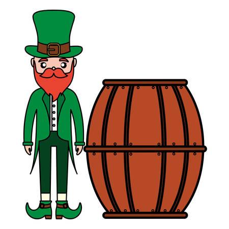 beer wooden barrel with ireland man vector illustration design