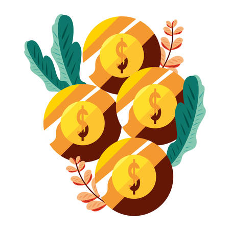 gold coins money growth finance vector illustration 向量圖像