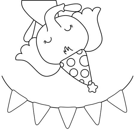 cute elephant with hat party and garland vector illustration design  イラスト・ベクター素材
