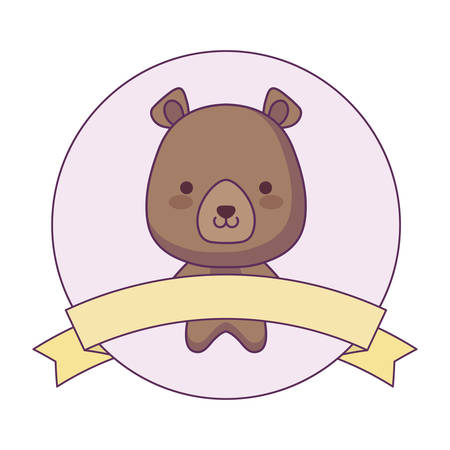 cute bear animal with ribbon in frame vector illustration design