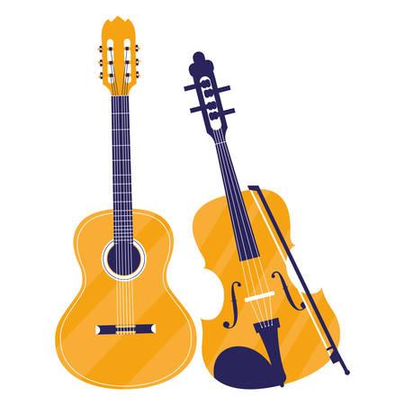 guitar and fiddle instruments vector illustration design