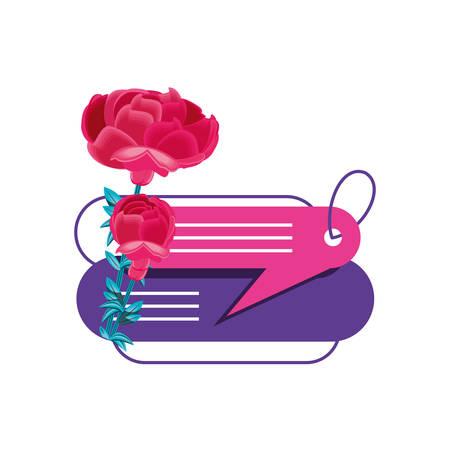 beautiful flowers with speech bubbles vector illustration design Ilustração