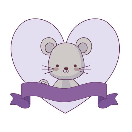 cute mouse animal with ribbon in frame vector illustration design  イラスト・ベクター素材