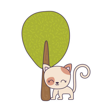 cute cat animal with tree plant vector illustration design