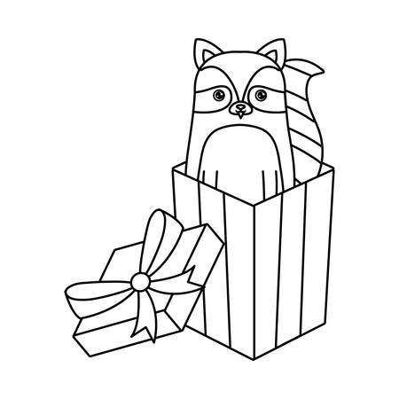 cute raccoon animal in gift box vector illustration design