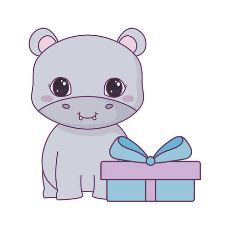 cute hippopotamus animal with gift box vector illustration design