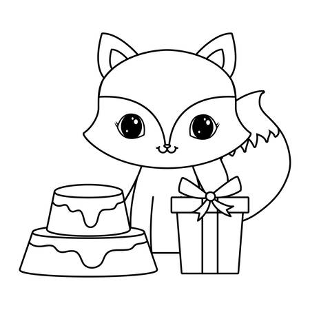 cute fox with cake of birthday and gift box vector illustration design  イラスト・ベクター素材
