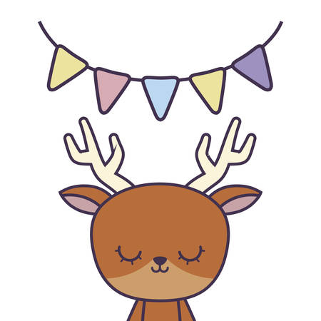 cute reindeer animal with garlands hanging vector illustration design  イラスト・ベクター素材