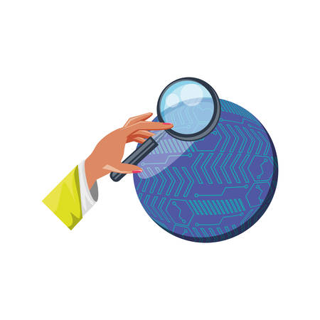 hand with magnifying glass and sphere planet vector illustration design 向量圖像