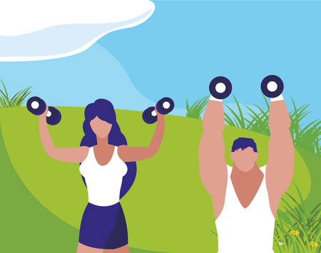 athletic man and woman weight lifting in the camp vector illustration design