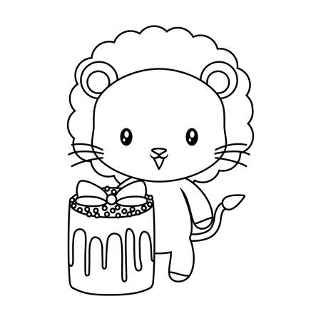 cute lion animal with cake of birthday vector illustration design