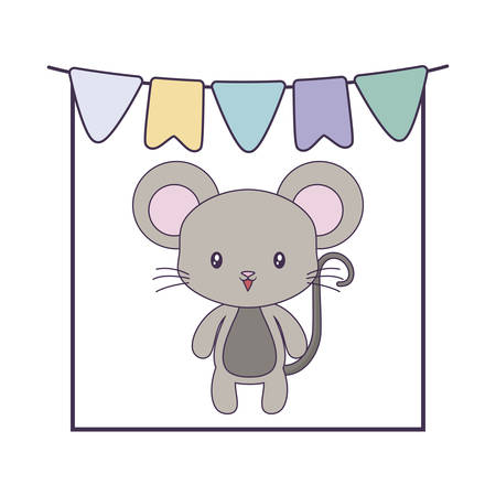 cute mouse animal with garlands hanging vector illustration design