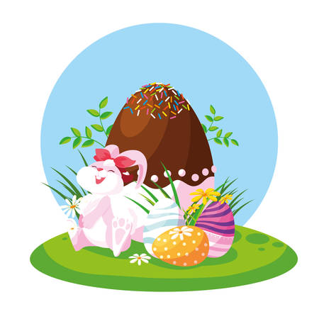 cute female rabbit with eggs of easter in garden vector illustration design Zdjęcie Seryjne - 122818648