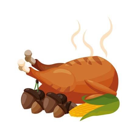 thanksgiving celebrate chicken corns cob vector illustration