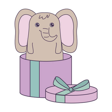 cute elephant animal in gift box vector illustration design
