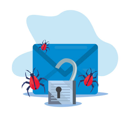 email virus padlock cyber security vector illustration