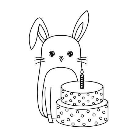 cute rabbit animal with cake of birthday vector illustration design