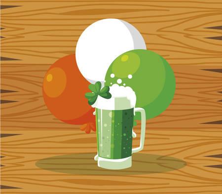saint patrick beer jar with balloons helium vector illustration design