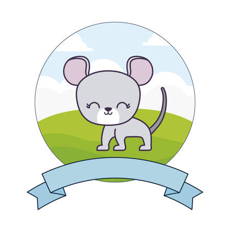 cute mouse in landscape with frame and ribbon vector illustration design