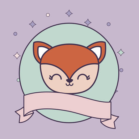 head of cute fox in frame circular with ribbon vector illustration design  イラスト・ベクター素材