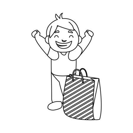 happy boy with paper bag celebration vector illustration