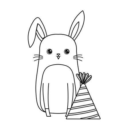 cute rabbit animal with hat party vector illustration design