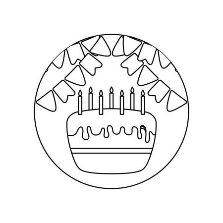 cake of birthday in frame circular with garlands vector illustration design