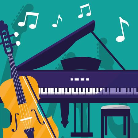 fiddle and grand piano instruments vector illustration design 版權商用圖片 - 122818700
