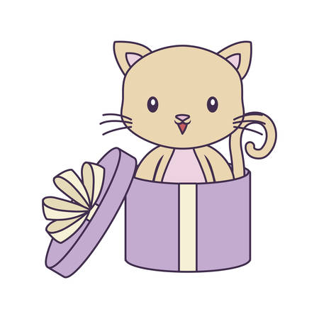 cute cat animal in gift box vector illustration design