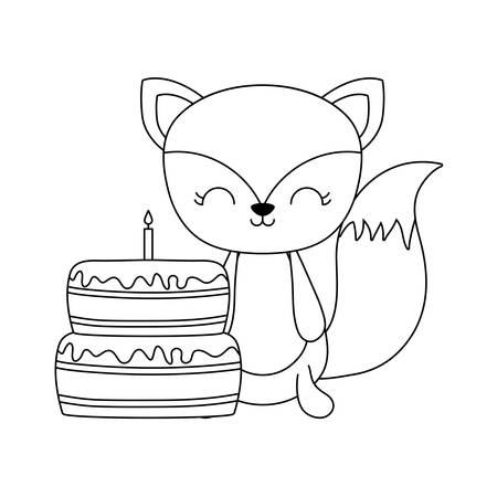 cute fox with cake of birthday vector illustration design