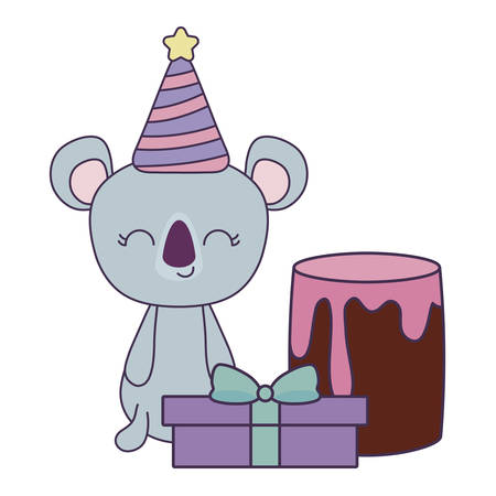 cute koala with cake of birthday and gift box vector illustration design