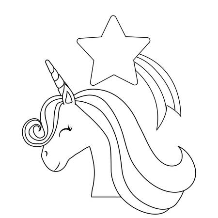 head of cute unicorn with shooting star vector illustration design