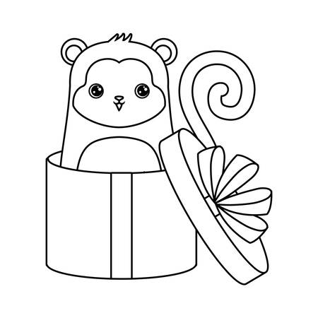 cute monkey animal in gift box vector illustration design