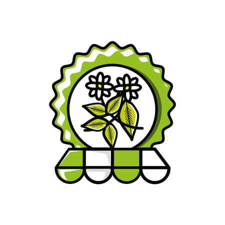 seal with leaves tea and parasol vector illustration design