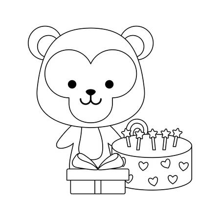 cute monkey with gift box and sweet cake vector illustration design  イラスト・ベクター素材