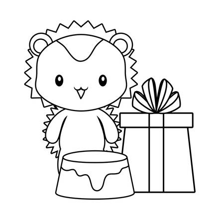 cute porcupine with cake of birthday and gift box vector illustration design  イラスト・ベクター素材