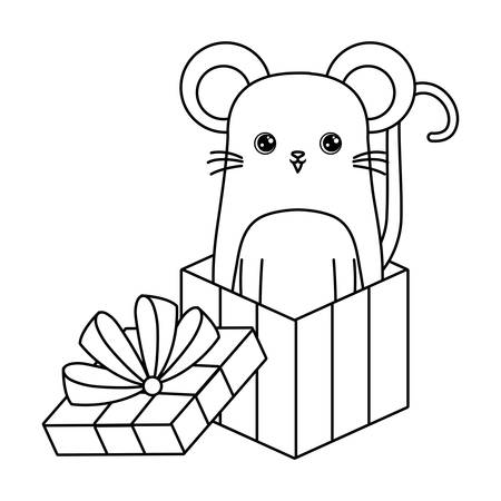 cute mouse animal in gift box vector illustration design