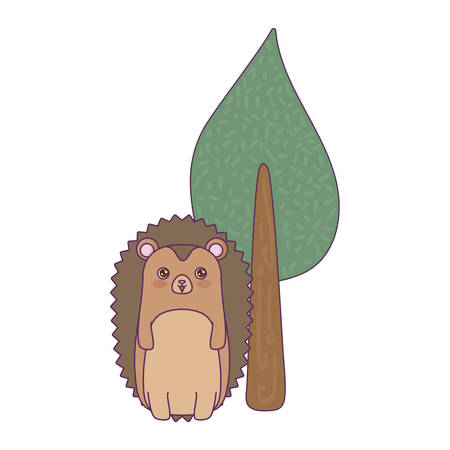 cute porcupine animal with tree plant vector illustration design