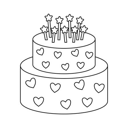 sweet cake of birthday isolated icon vector illustration design Illusztráció