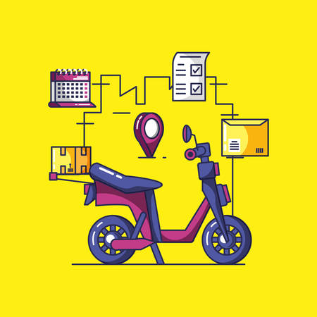 delivery service motorcycle and icons vector illustration design 向量圖像