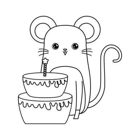 cute mouse animal with cake of birthday vector illustration design