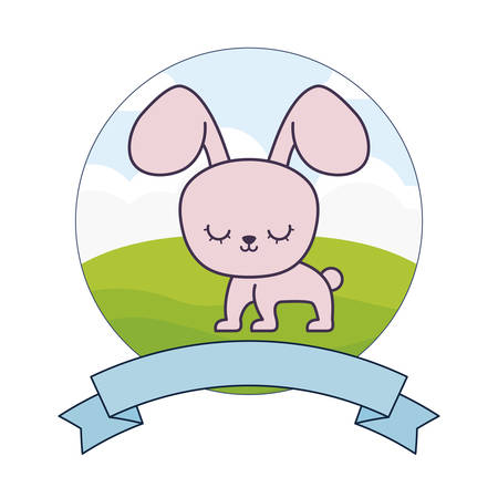 cute rabbit in landscape with frame and ribbon vector illustration design