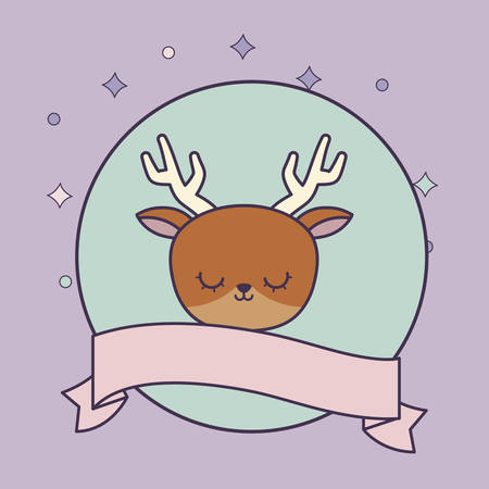 head of cute reindeer in frame circular with ribbon vector illustration design