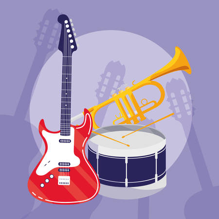 guitar electric and drum instruments musical vector illustration design
